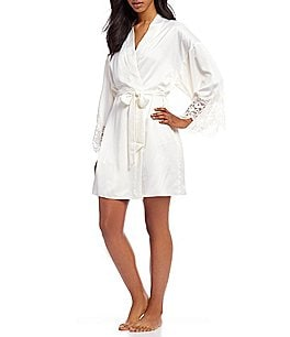 Image of Flora Nikrooz Monica Charmeuse & Lace Wrap Robe