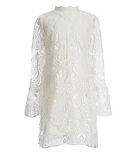 Image of GB Girls Social Little Girls 4-6X Bell-Sleeve Lace Dress