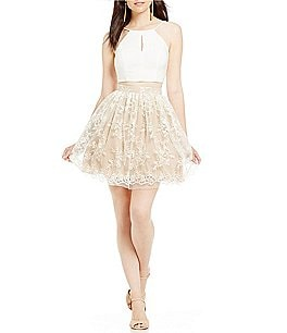Image of GB Social Embroidered Skirt Two-Piece Dress