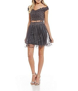 Image of GB Social Off The Shoulder Lace Two-Piece Dress