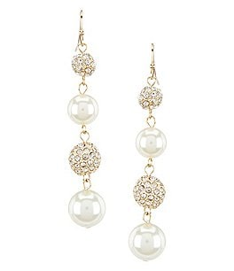 Image of Gemma Layne Pavé & Faux-Pearl Linear Drop Statement Earrings
