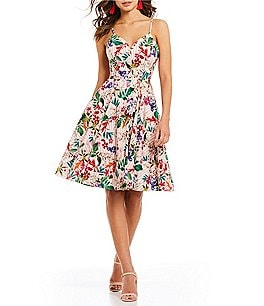 Image of Gianni Bini Jacqueline Floral Print Poplin Fit & Flare Dress