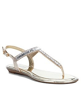 Image of Gianni Bini Precious Metallic Fabric Jeweled T-Strap Sandals