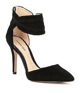 Image of Gianni Bini Valara Suede Ankle Strap Pumps