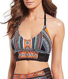 Image of Gibson & Latimer Tribal Mesh Halter Midkini Swimsuit Top