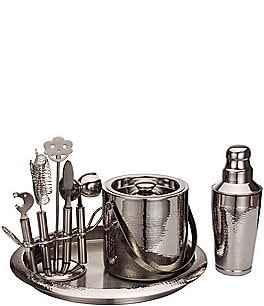 Image of Godinger Deluxe Hammered Steel 9-Piece Bar Tool Set