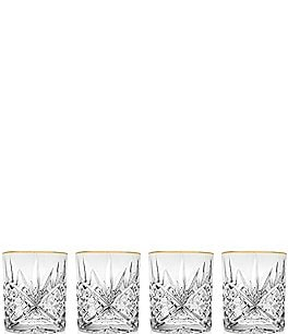 Image of Godinger Dublin 4-Piece Gold-Rimmed Handcrafted Crystal Double Old Fashioned Glass Set