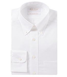 Image of Gold Label Roundtree & Yorke Non-Iron Fitted Button-Down Collar Classic Solid Dress Shirt