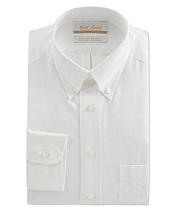 Image of Gold Label Roundtree & Yorke Non-Iron Full-Fit Button-Down Collar Solid Dress Shirt