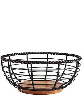 Image of Gourmet Basics by Mikasa Rope Round Wrought Iron & Wood Fruit Basket