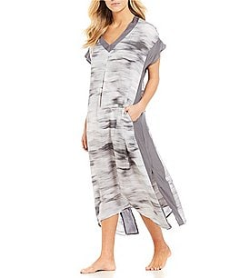 Image of H Halston Abstract Satin & Georgette Caftan