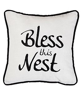 Image of HiEnd Accents Bless The Nest Embroidered Pillow