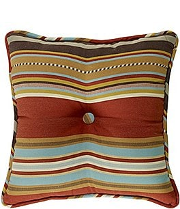Image of HiEnd Accents Calhoun Serape-Striped Button-Tufted Square Pillow