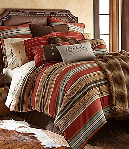 Image of HiEnd Accents Calhoun Serape-Striped Faux-Suede Comforter Set