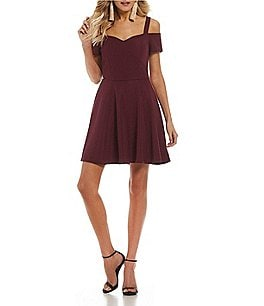 Image of Honey and Rosie Cold-Shoulder Fit-And-Flare Dress