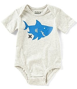 Image of Hurley Baby Boys Newborn-12 Months Short-Sleeve Sharky Silo Bodysuit