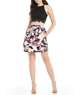 Image of I.N. San Francisco Sequin Lace Top with Floral Print Skirt Two-Piece Dress
