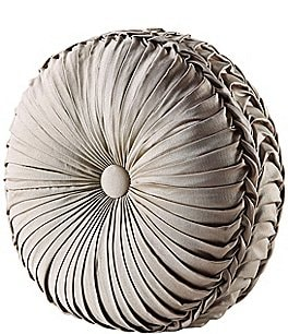 Image of J. Queen New York Astoria Button-Tufted Pleated Round Pillow