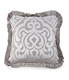Image of J. Queen New York Babylon Pleated Damask & Diamond Square Pillow