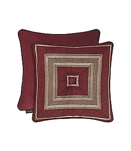 Image of J. Queen New York Crimson Button-Tufted Mitered Striped & Velvet Square Pillow