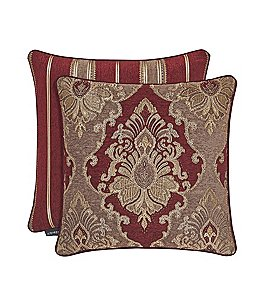 Image of J. Queen New York Crimson Damask & Striped Square Pillow