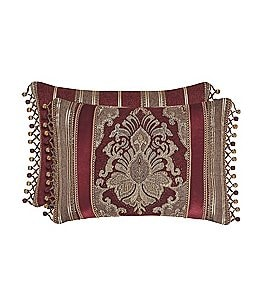 Image of J. Queen New York Crimson Reversible Tasseled Boudoir Pillow