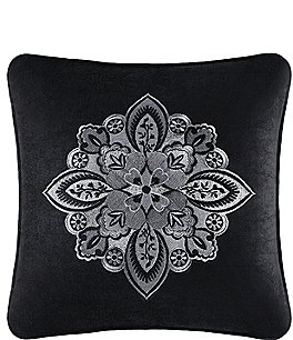 Image of J. Queen New York Guiliana Damask-Embroidered Velvet Square Pillow
