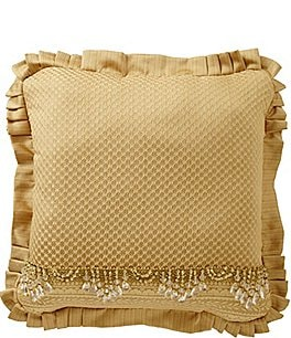 Image of J. Queen New York Napoleon Beaded Pleated Square Pillow