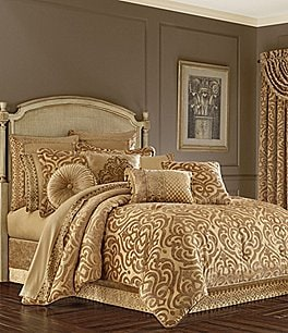 Image of J. Queen New York Siciliy Gold Damask Chenille Comforter Set