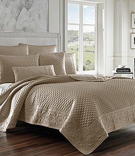 Image of J. Queen New York Zilara Embroidered Quilted Satin Coverlet