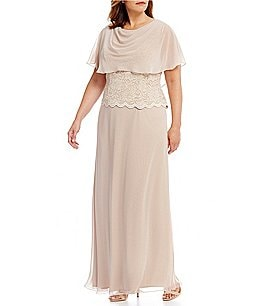 Image of Jessica Howard Plus Draped-Neck Mock 2-Piece Gown