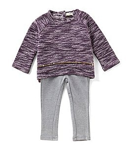 Image of Jessica Simpson Baby Girls 12-24 Months Flyaway Slub-Knit Top & Jeggings Set