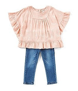 Image of Jessica Simpson Baby Girls 12-24 Months Printed Ruffle-Trim Top & Jeans Set