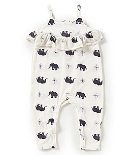Image of Jessica Simpson Baby Girls Newborn-9 Months Elephant Ruffle Coverall