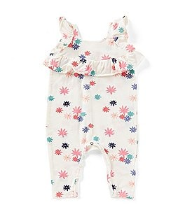Image of Jessica Simpson Baby Girls Newborn-9 Months Floral-Print Ruffle Coverall