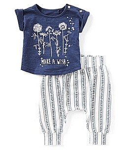 Image of Jessica Simpson Baby Girls Newborn-9 Months Make a Wish Top & Printed Pants Set