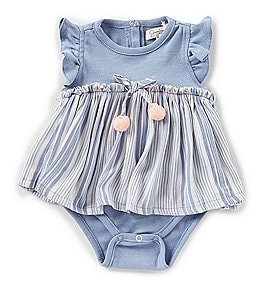 Image of Jessica Simpson Baby Girls Newborn-9 Months Striped Skirted Bodysuit