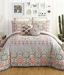 Image of Jessica Simpson Puebla Floral Medallion Tile Comforter Mini Set