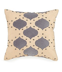 Image of Jessica Simpson Puebla Studded Velvet-Appliquéd Square Pillow
