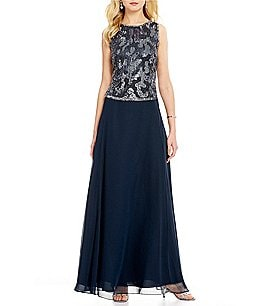 Image of JKara Sequin Bodice Sleeveless A-Line Chiffon Gown