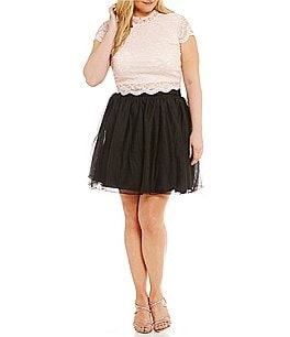 Image of Jodi Kristopher Plus Cap Sleeve Lace Top Two-Piece Dress