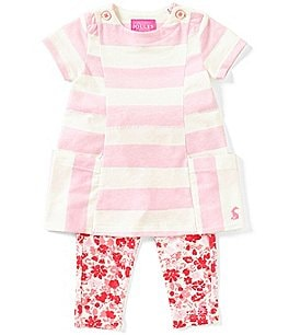 Image of Joules Baby Girls Newborn-12 Months Annie Striped Dress & Floral Leggings Set