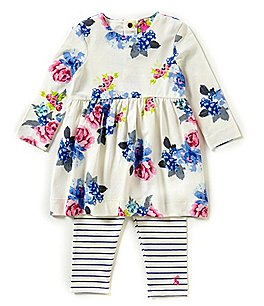 Image of Joules Baby Girls Newborn-18 Months Long Sleeve Floral Dress and Leggings Set