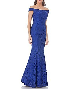Image of JS Collections Off-The-Shoulder Lace Mermaid Gown