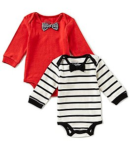 Image of Kapital K Baby Boys Newborn-9 Months 2-Pack Striped/Solid Bodysuit Set