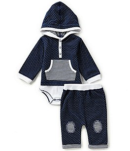 Image of Kapital K Baby Boys Newborn-9 Months Dotted Hooded Bodysuit & Dotted Pants Set