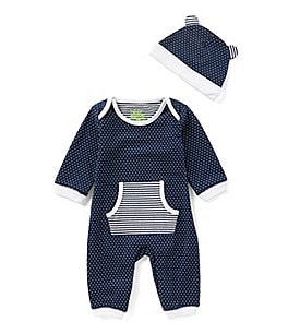 Image of Kapital K Baby Boys Newborn-9 Months Dotted Long-Sleeve Coverall & Matching Hat Set