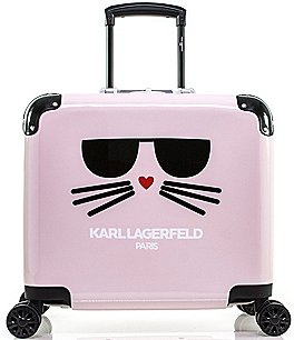 "Image of KARL LAGERFELD PARIS Cat in a Box 15"" Pilot Case Carry-On Spinner"