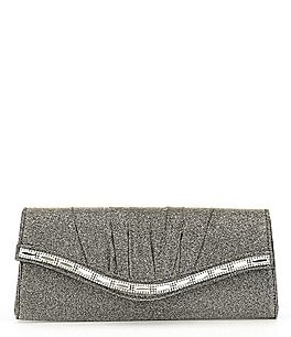 Image of Kate Landry Pleated Glittery Stone-Flap Clutch