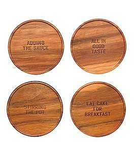Image of kate spade new york All in Good Taste 4-Piece Wood Coaster Set